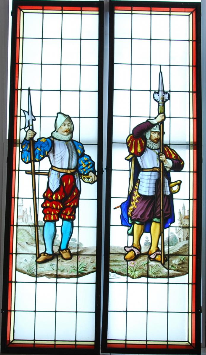 Pair Of Renaissance Stained Glass