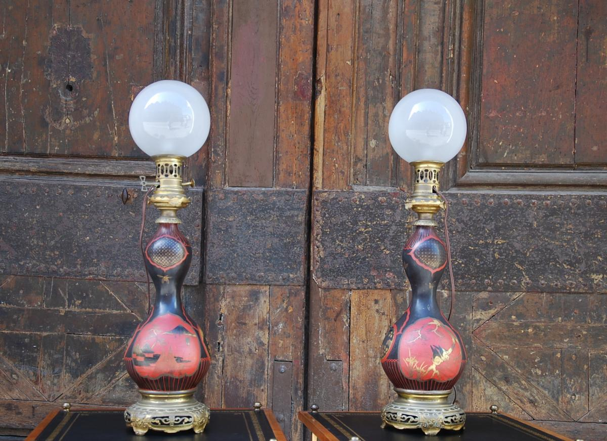 Paire De Lampes Napoleon III Laquees