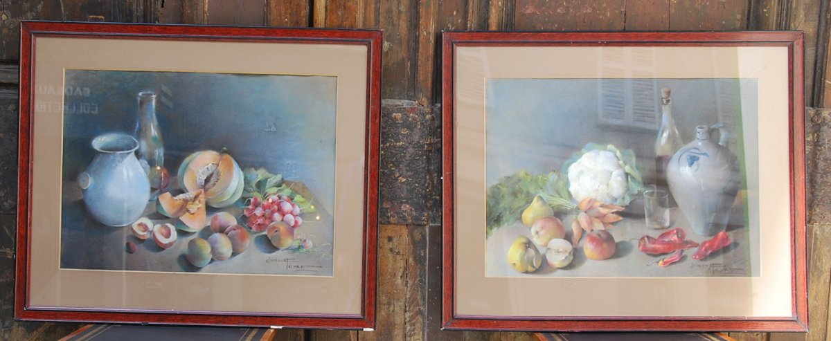 Pastel Still Life With Fruits And Vegetables