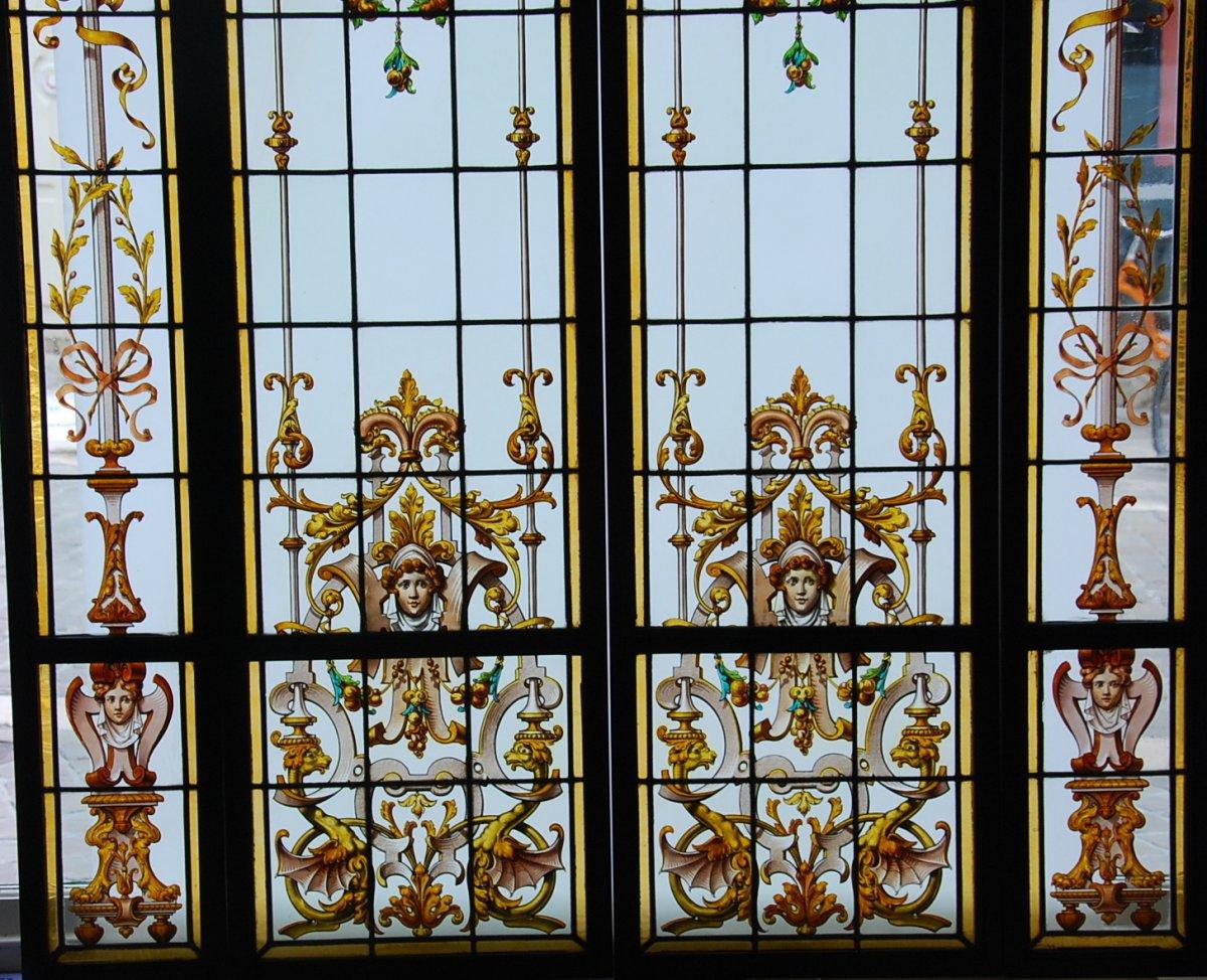 Vitrail Vitraux Ensemble De 4 Vitraux Renaissance