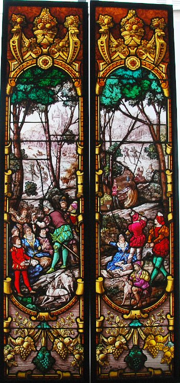 Stained Glass Stained Glass Hunting Scene Ponsin