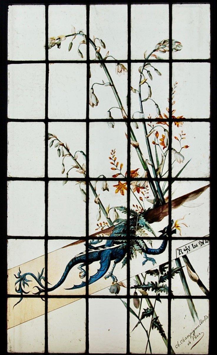 Vitraux  vitrail dragon Charles Champigneulle V105