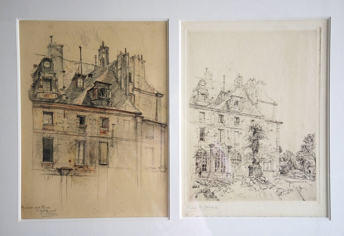 Drawing And Its Engraving Abbaye Aux Bois Rue De Sèvres Paris By Charles Jouas