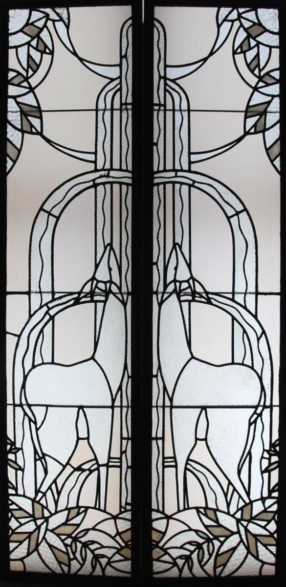 Pair Of Art Deco Stained Glass With Biches