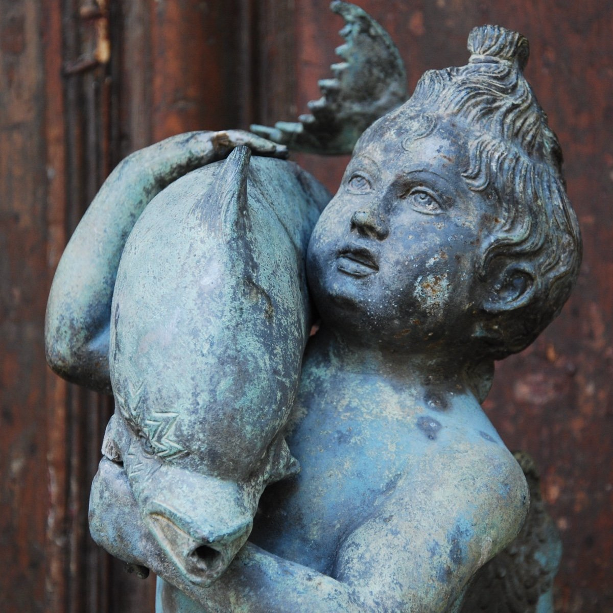 Sculpture En Bronze Au Dauphin Du Grand Tour-photo-1