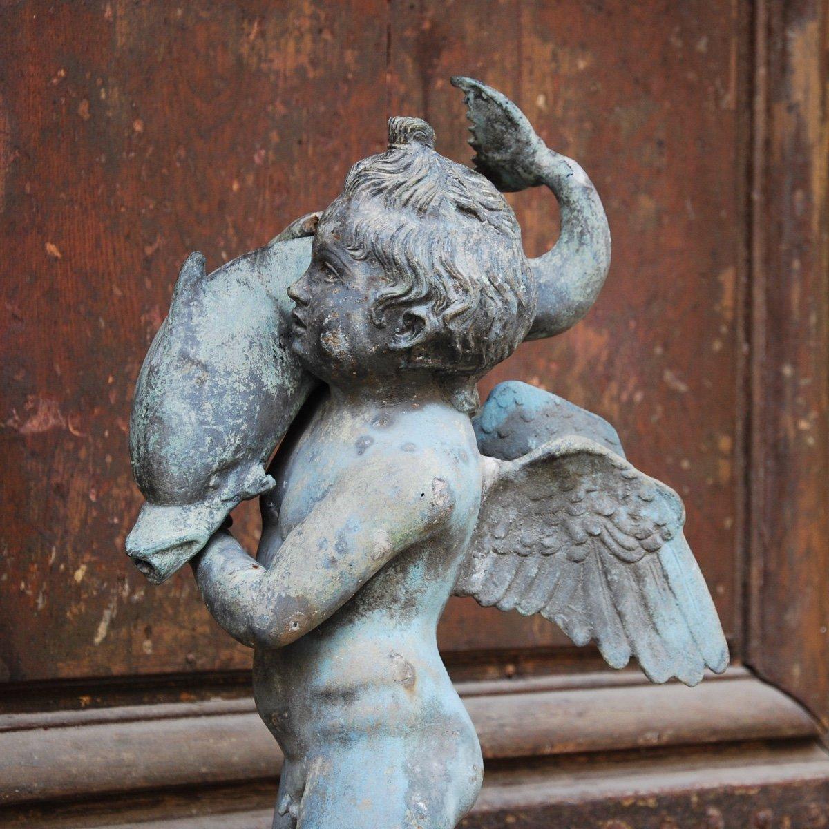 Sculpture En Bronze Au Dauphin Du Grand Tour-photo-5