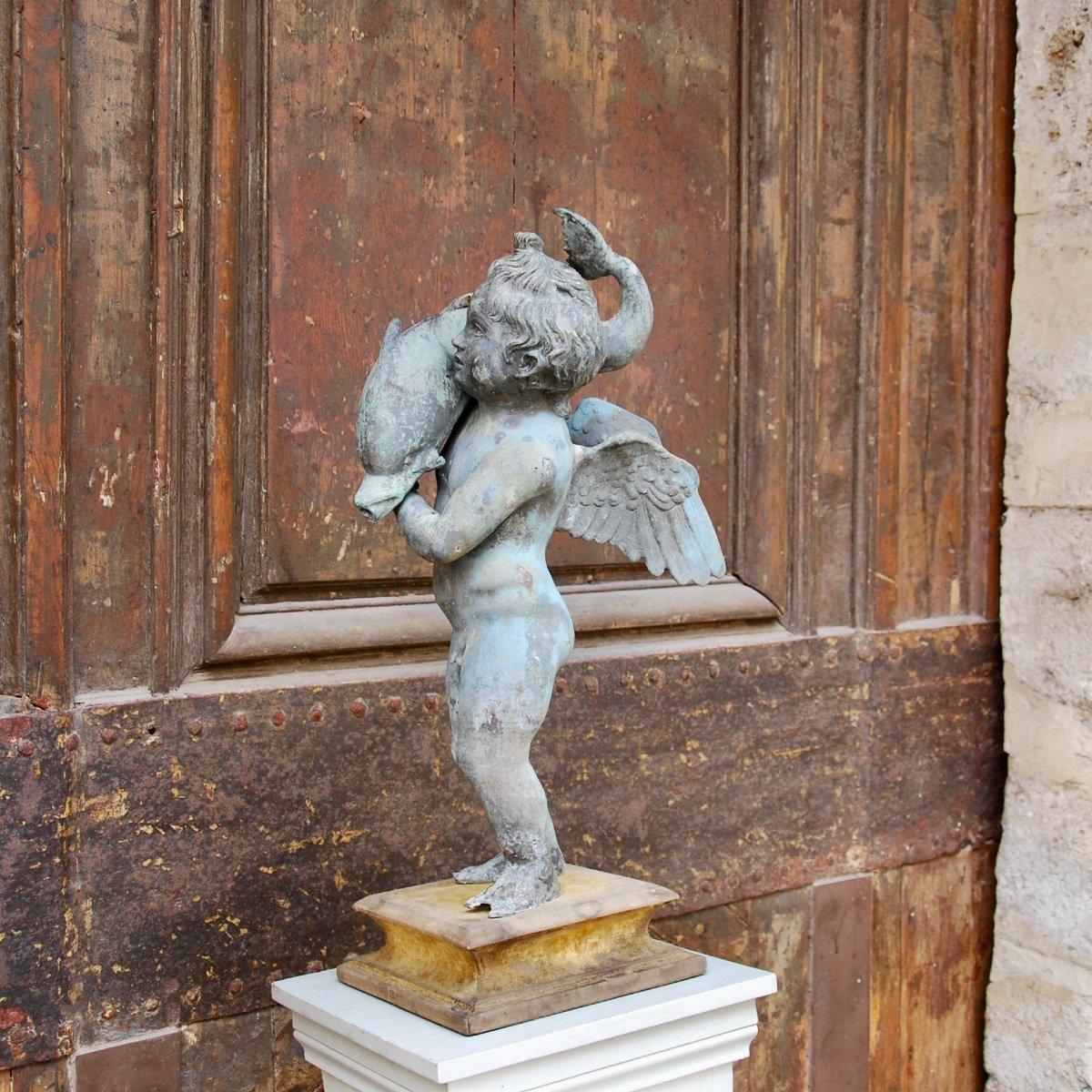 Sculpture En Bronze Au Dauphin Du Grand Tour-photo-6