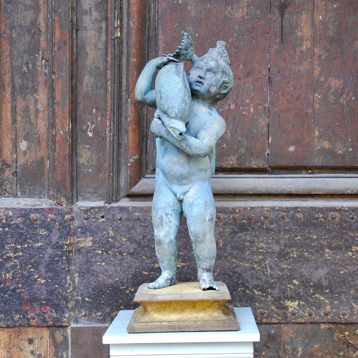 Sculpture En Bronze Au Dauphin Du Grand Tour