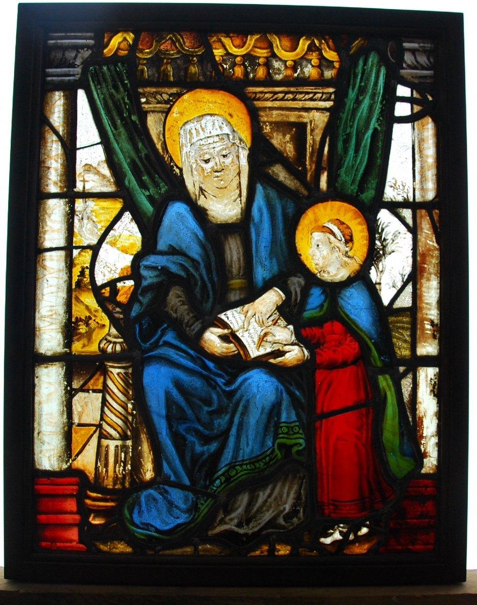 Vitrail Vitraux Saint Anne Et La Vierge H71cm L55cm