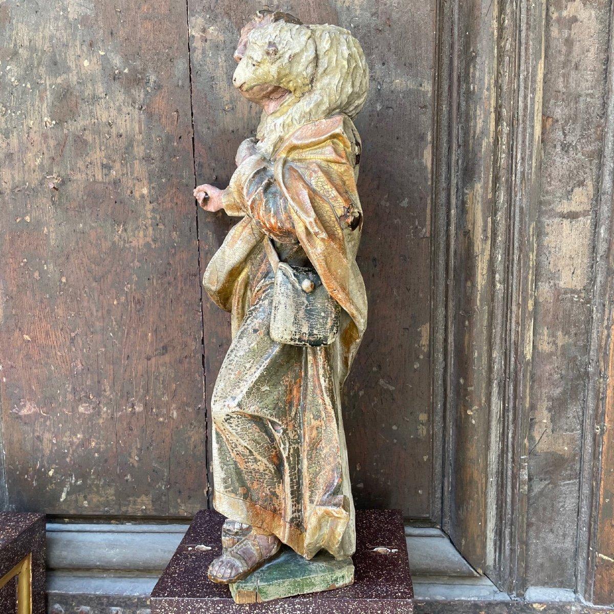 Statue En Bois Polychrome De Saint Jean-baptiste-photo-1