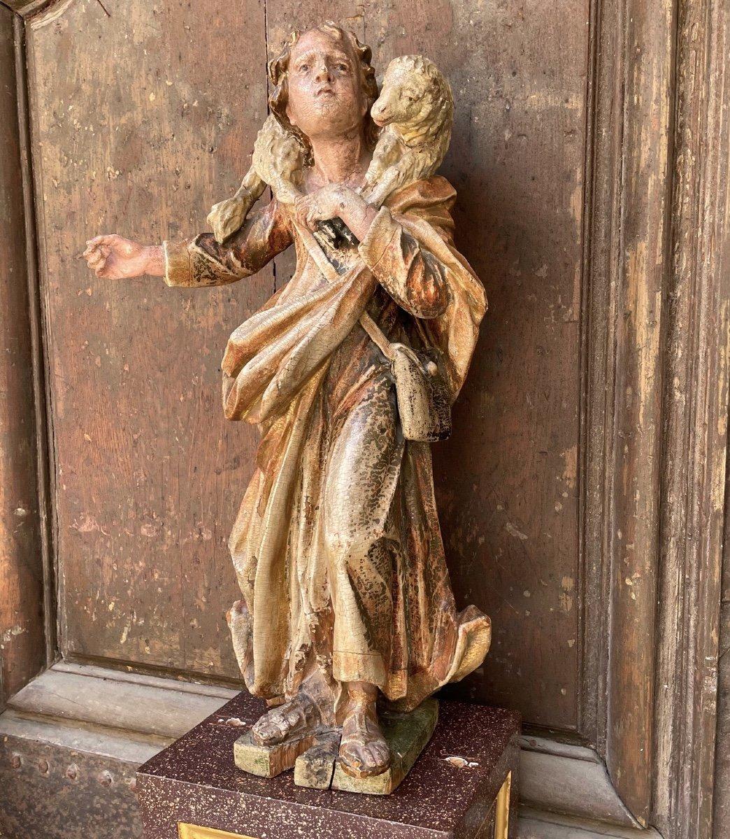 Statue En Bois Polychrome De Saint Jean-baptiste