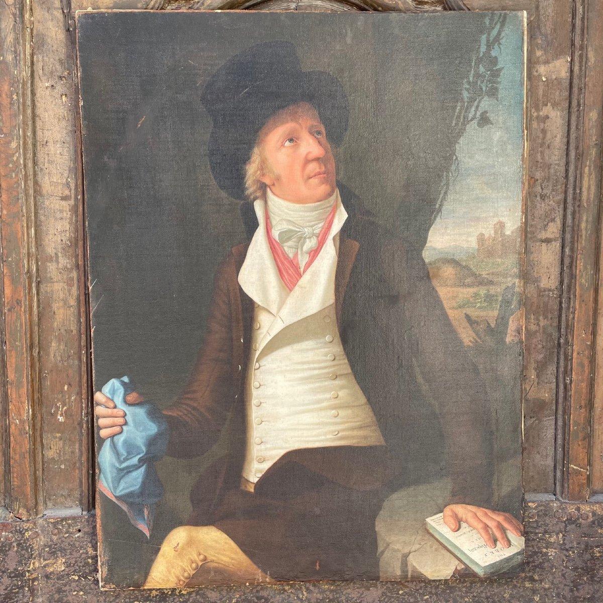 Huile Sur Toile Portrait Homme Au Chapeau époque 18ème