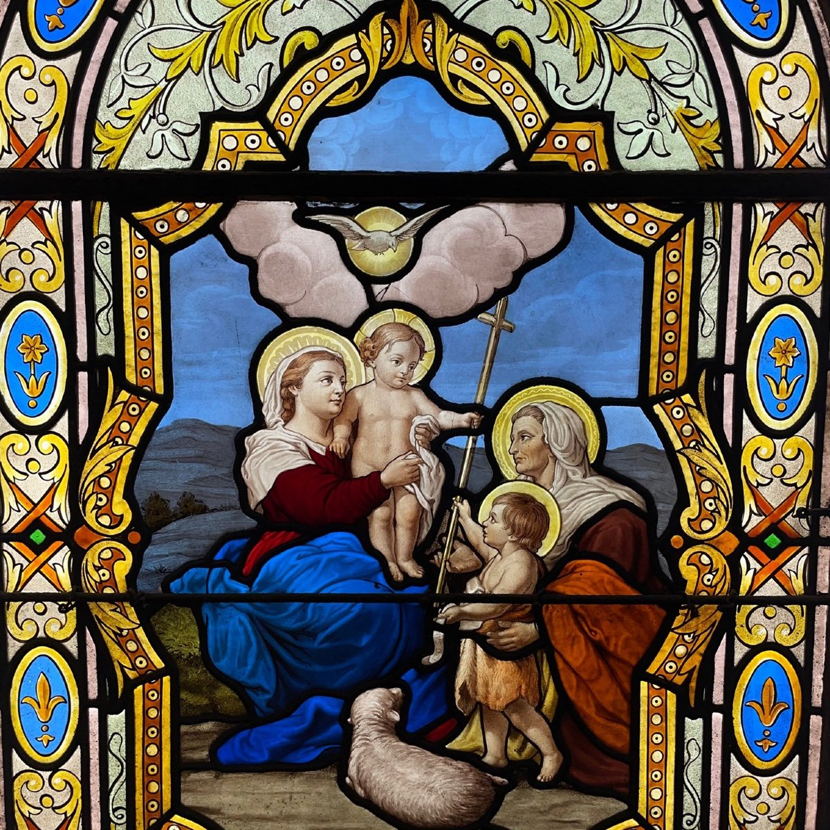 Stained Glass Window Stained Glass The Virgin The Child Jesus And Saint John The Baptist-photo-2