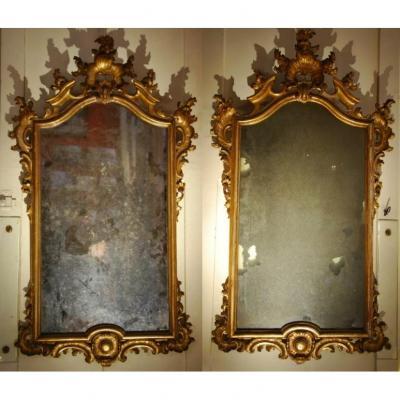 Paire De Miroirs Italiens En Bois Doré époque 18ème Siècle