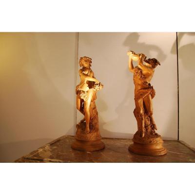 Paire De Sculpture En Terre Cuite Nymphe Et Faune Epoque19ème