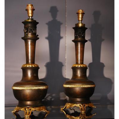 Paire De Lampes En Bronze Napoleon III