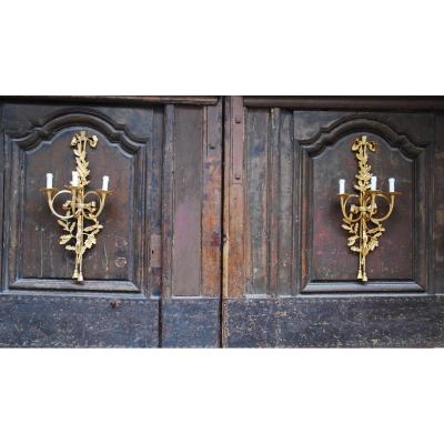 Pair Of Gilt Bronze Sconces Hunting Horns