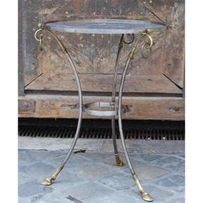 Pedestal Table In Steel And Bronze