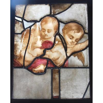 Stained Glass With 3 Angels