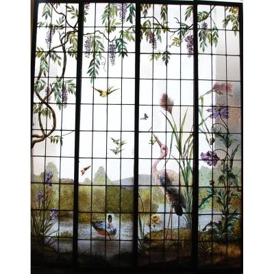 Set Of 4 Stained Glass On The Theme Of Mariais