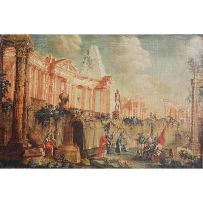 Huile Sur Toile Paysage De Ruines Antiques Italien 18 Eme
