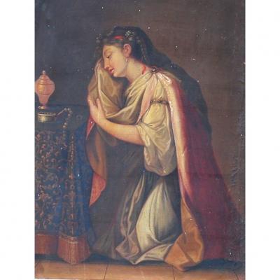 Huile sur toile femme au collier de perle