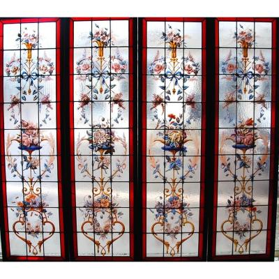 Stained Glass Set Of 4 Panels With Flower Decor H180 Cm L200 Cm