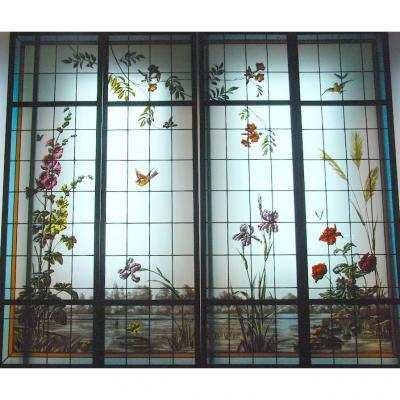 Set Of 4 Stained Glass Riverside