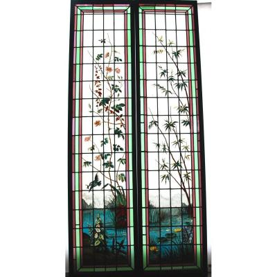 Stained Glass Roses And Bamboos