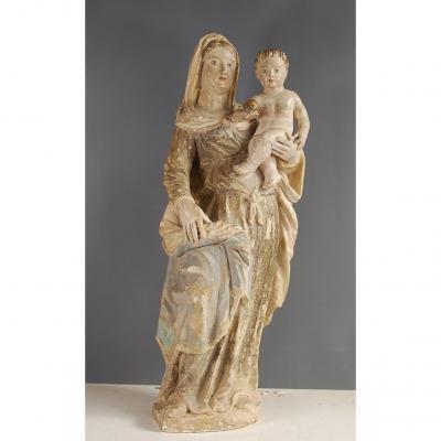 Vierge À l'Enfant En Pierre Epoque 16ème