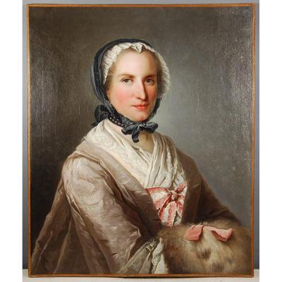 Portrait De Femme Au Manchon Attribué à Jacques André Aved 1702-1766