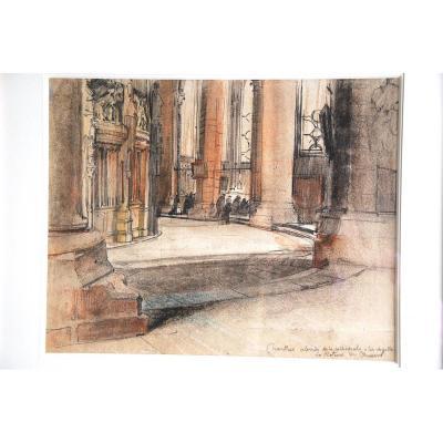 Dessin De Charles Jouas Abside De La Cathédrale De Chartres