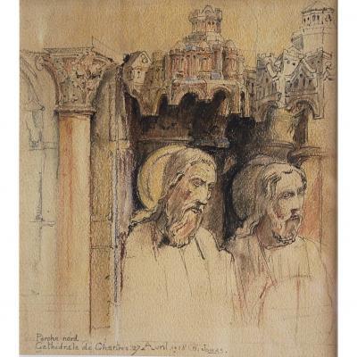 Dessin De Charles Jouas Portail Nord De La Cathédrale De Chartres