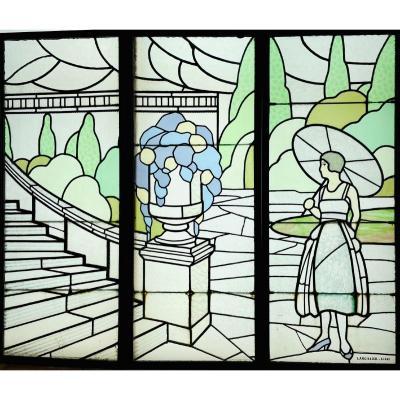 Vitrail Art Deco De Largillier V119