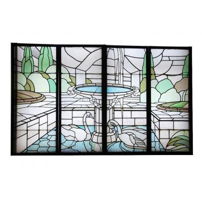 Stained Glass Art Deco De Largillier V118