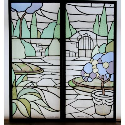 Stained Glass Art Deco Largillier V120