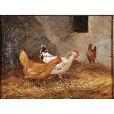 The Three Hens Oil On Canvas Signed H.roze