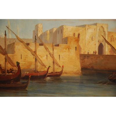 Port Of Tripoli Around 1840 Oil On Canvas H49cm L73cm