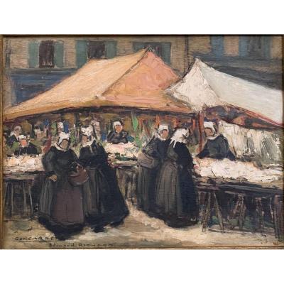 Market Scene In Concarneau Signed Edouard Richard