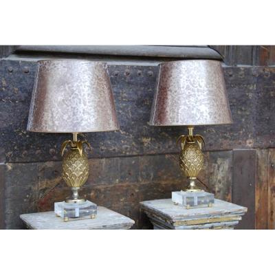 Pair Of Pineapple Lamps