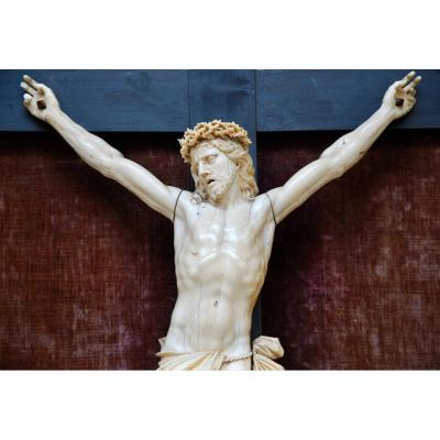 Large Christ In Ivory Work From The School Of Dieppe