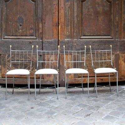 4 Steel And Bronze Chairs