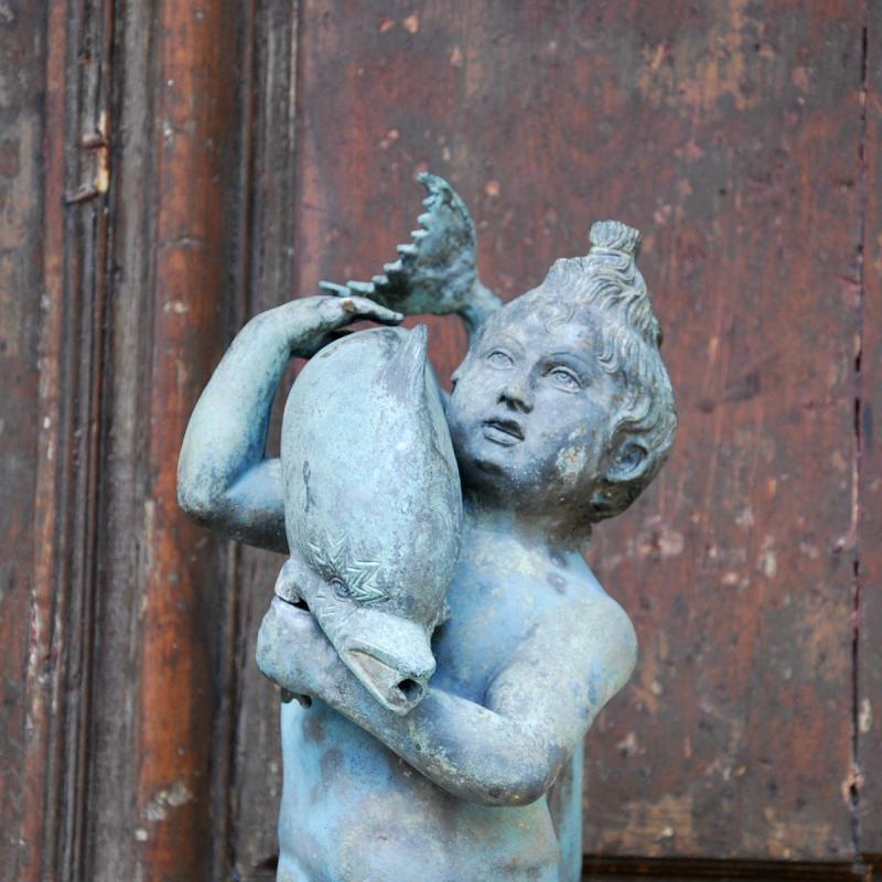 Sculpture En Bronze Au Dauphin Du Grand Tour-photo-2