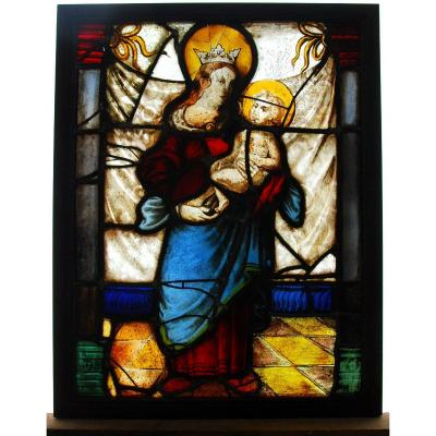Stained Glass Window Stained Glass Madonna And Child H71cm L55cm