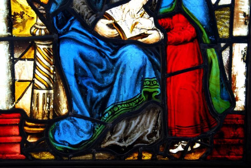 Vitrail Vitraux Saint Anne Et La Vierge H71cm L55cm-photo-3