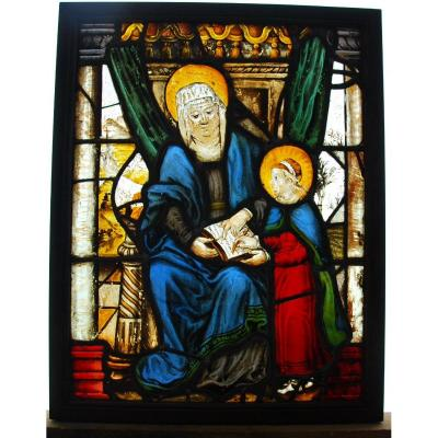 Stained Glass Stained Glass Saint Anne And The Virgin H71cm L55cm
