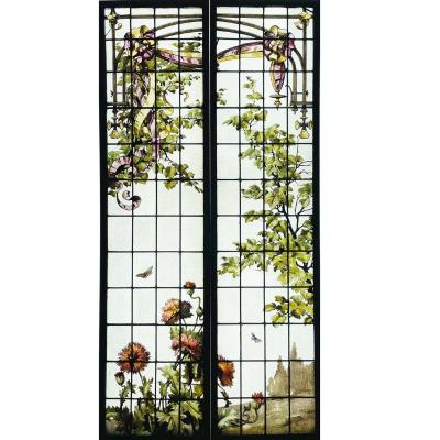 Pair Of Stained Glass With Mushroom Poppies H210cm L107cm