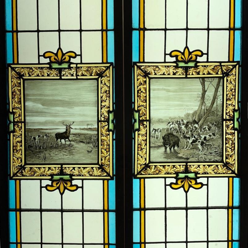 Paire de vitraux chasse à courre-photo-2
