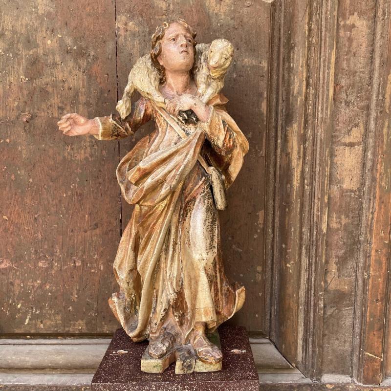 Statue En Bois Polychrome De Saint Jean-baptiste-photo-2