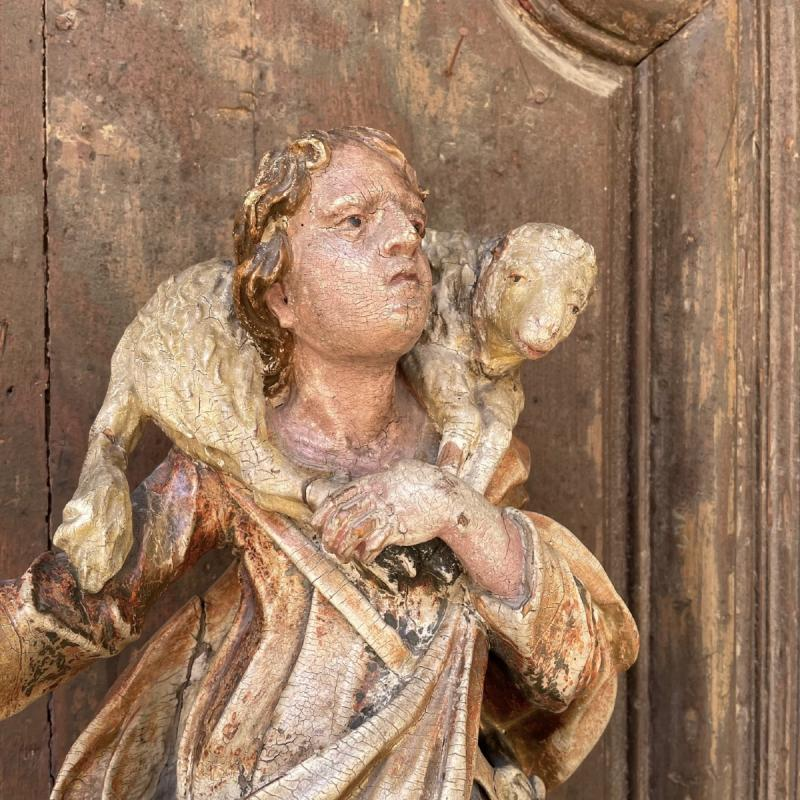 Statue En Bois Polychrome De Saint Jean-baptiste-photo-3